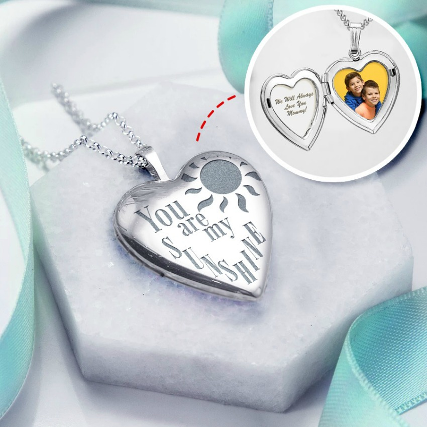 """Sterling Silver """"You Are My Sunshine"""" Heart Photo Locket"""