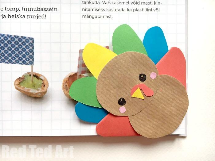 Turkey Bookmark Corner DIY