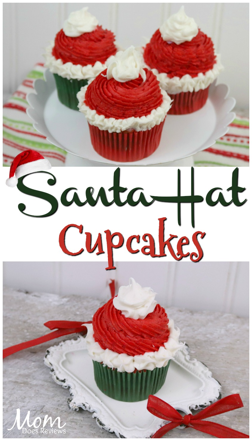 Homemade White Chocolate Santa Hat #cupcakes #recipe #christmas