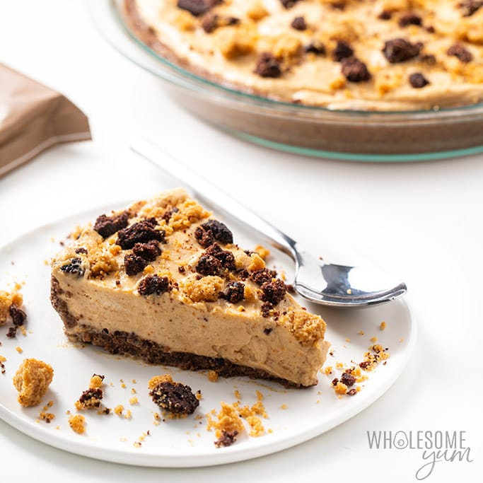 No Bake Frozen Keto Low Carb Peanut Butter Pie Recipe