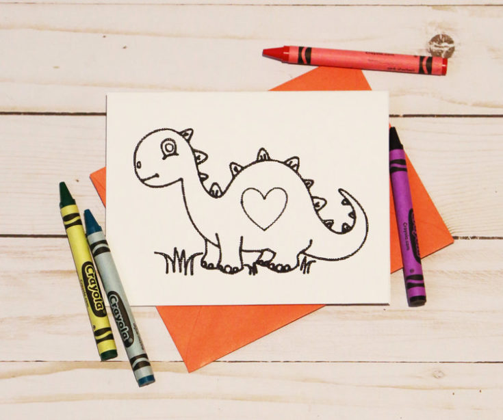 Dinosaur Coloring Valentine's Day Cards