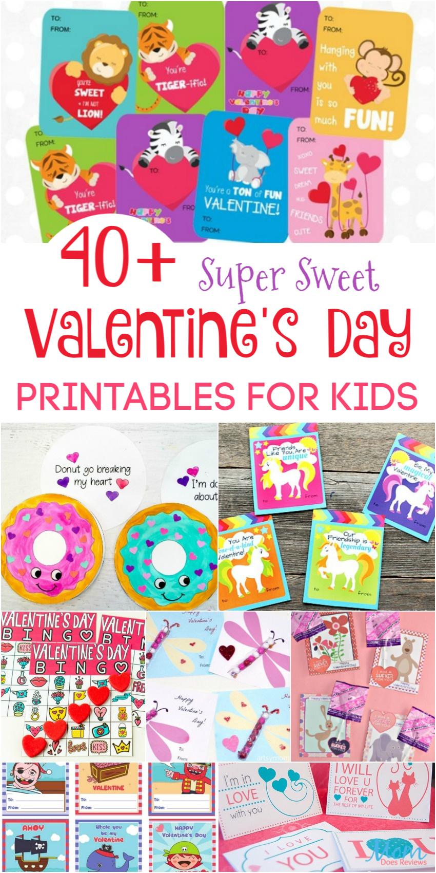 40+ Super Sweet Valentine's Day Printables for Kids #sweet2020 #valentinesday #freeprintables