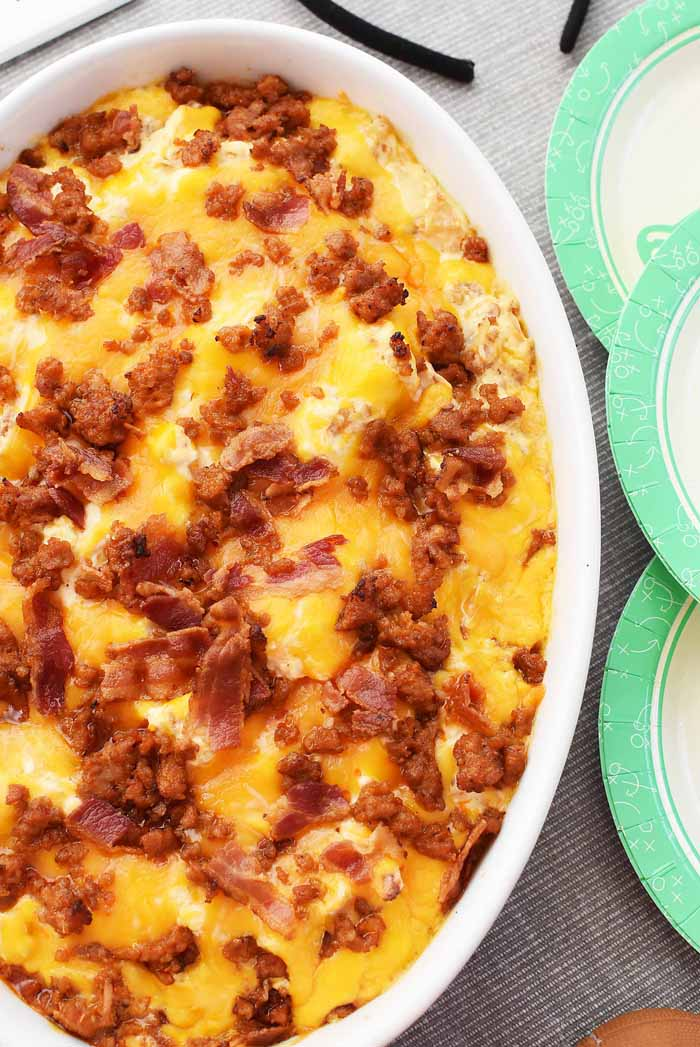 Spicy Sausage Dip with Bacon & Cheese