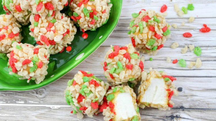 Christmas Caramel Marshmallow Rice Krispie Balls Recipe