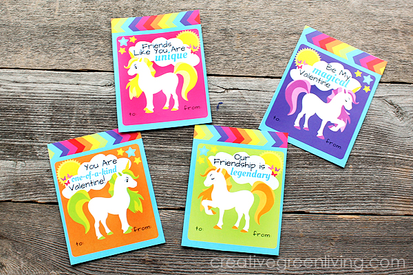 Free Printable Rainbow Unicorn Valentines!