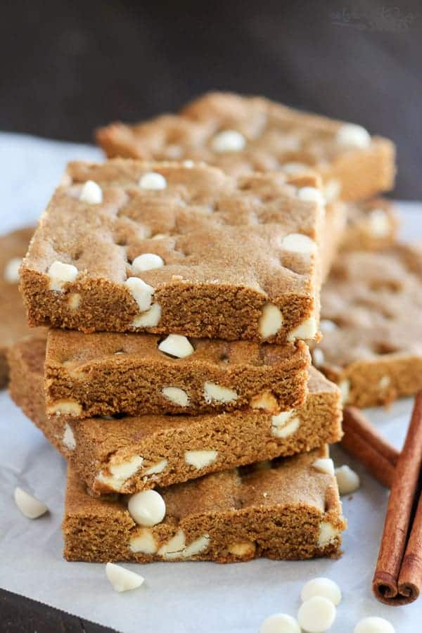 Gingerbread Bars with White Chocolate Chips