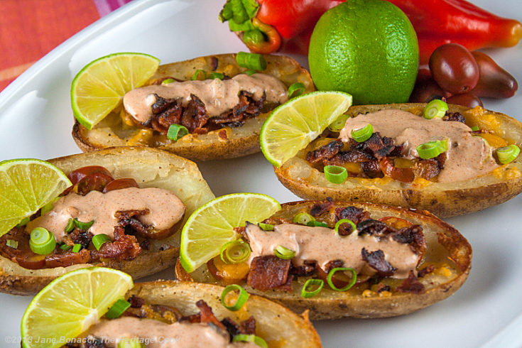 Fully Loaded Green Chile Potato Skins