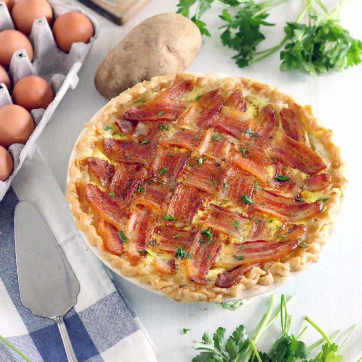 Make Ahead Breakfast Pie with Lattice Bacon Crust