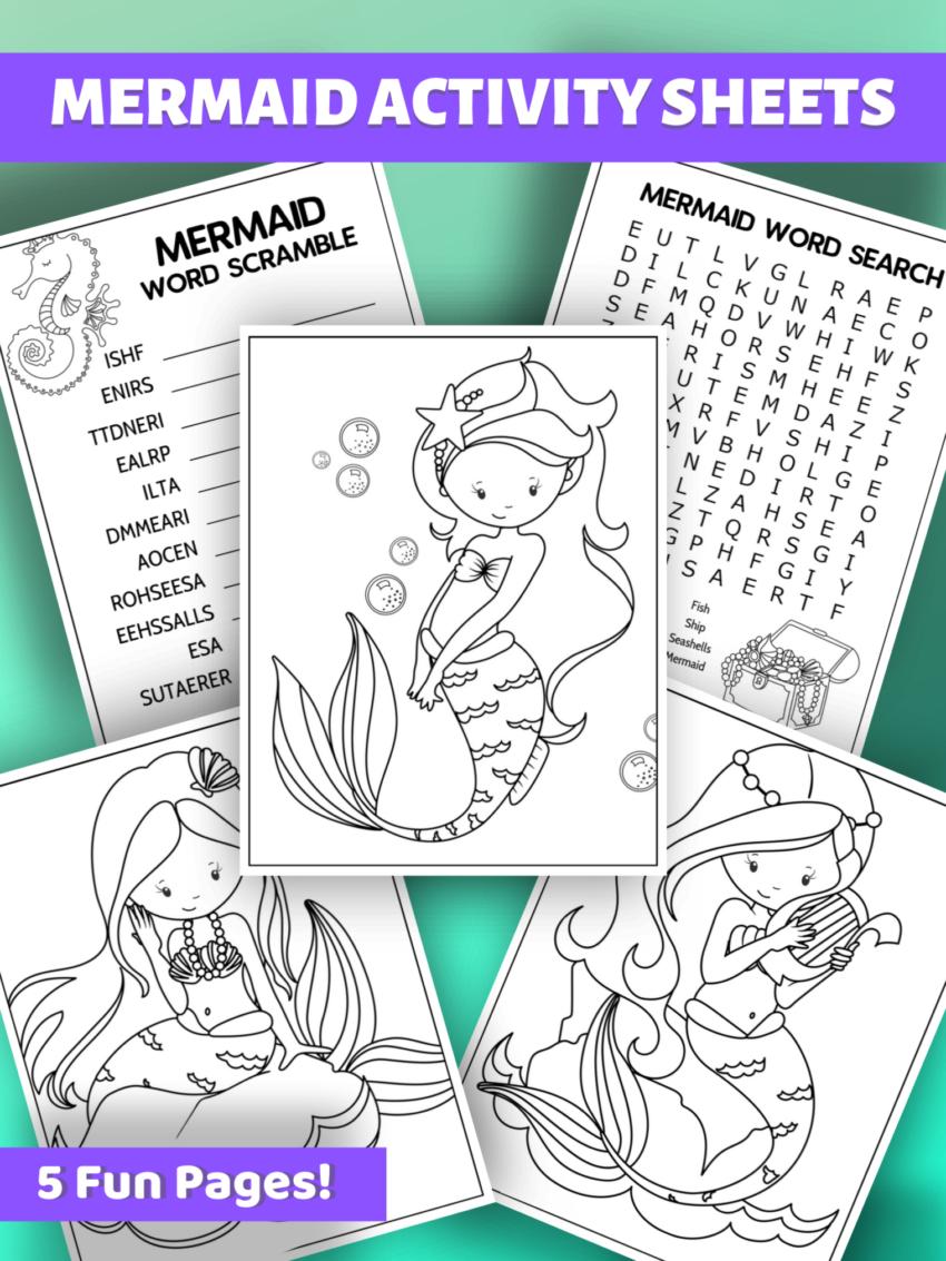 Magical Mermaid Activity Sheets #printables #mermaids #funstuff