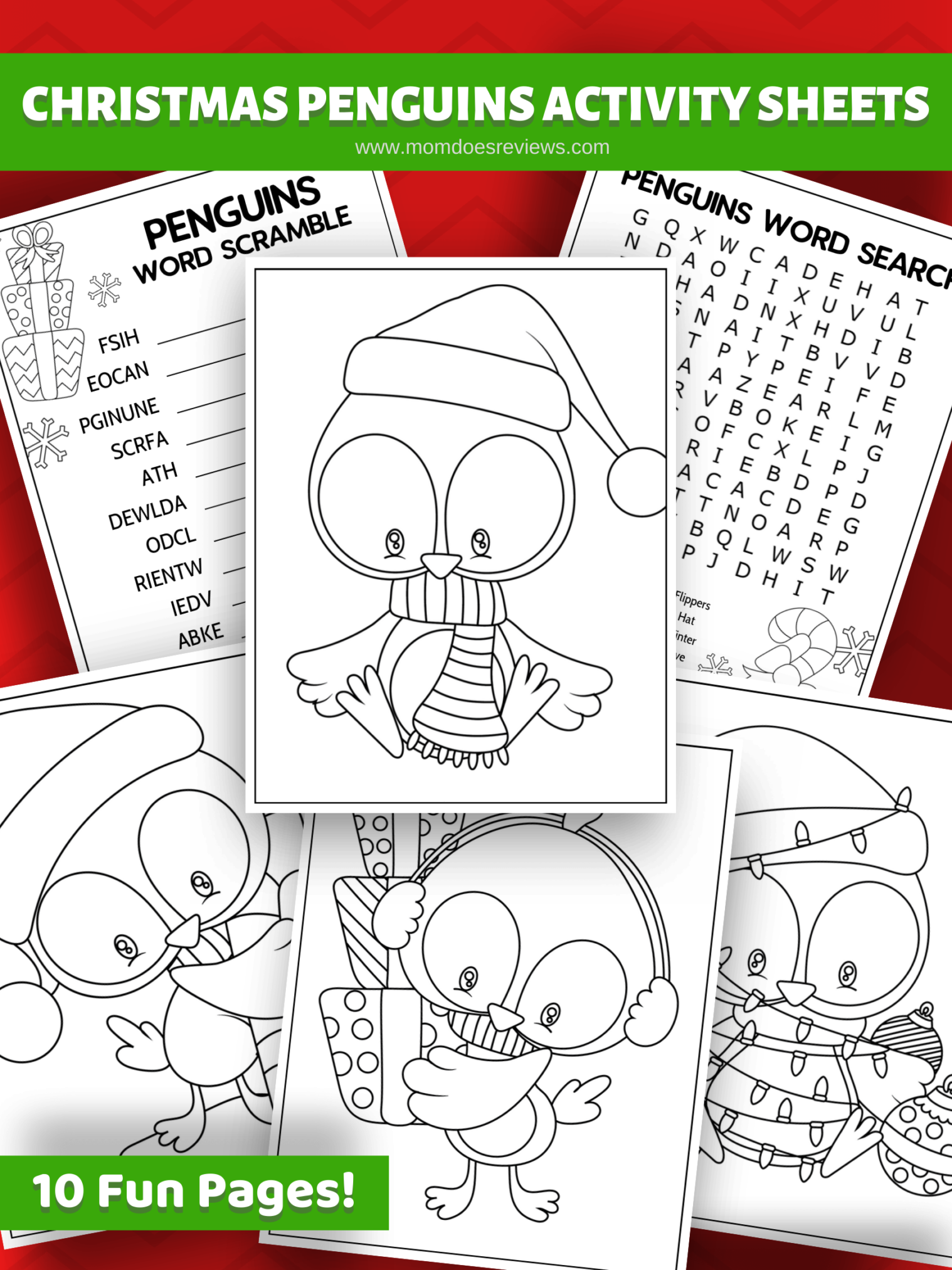 Christmas Penguins Activity Sheets #printables #christmas #fun