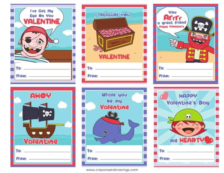 FREE Printable Pirate Valentines Cards for Kids