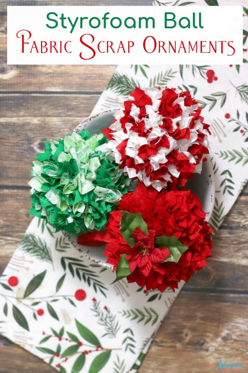 Styrofoam Ball Fabric Scrap Ornaments #Craft #DIY #Christmas