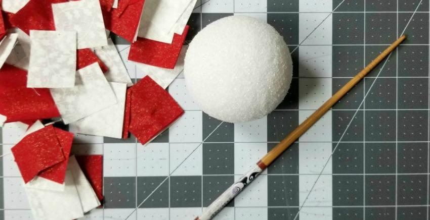 Styrofoam Ball Fabric Scrap Ornaments Craft process