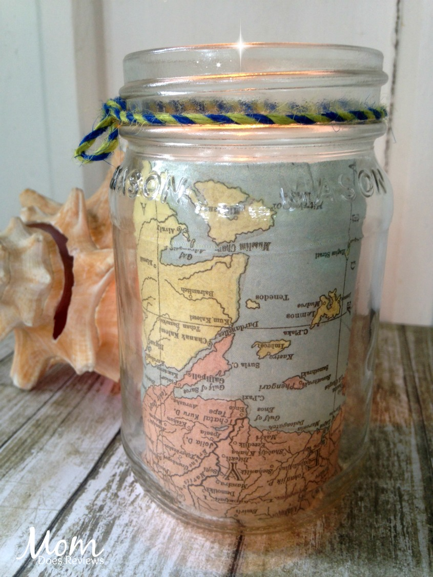 Vintage Inspired Map Votive Holder #crafts #diy #handmade
