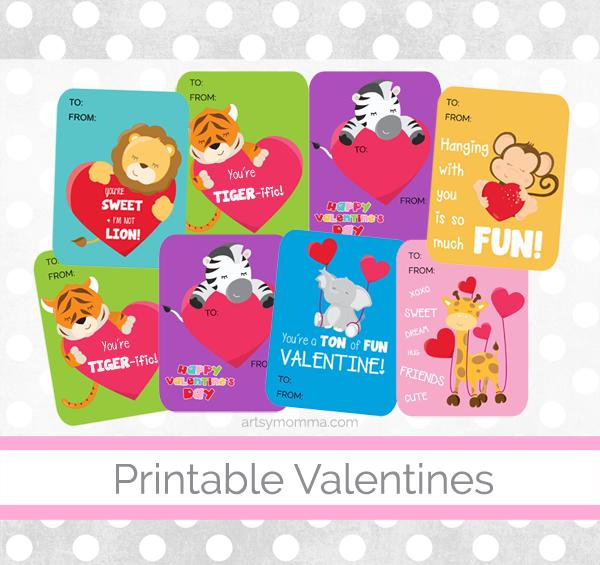 Adorable Printable Animal Valentines