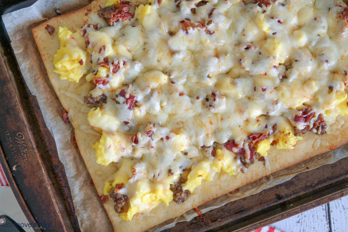 Bacon and Sausage Breakfast Pizza
