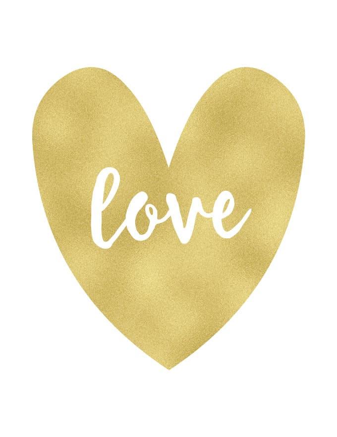 Free Gold Valentine's Day Printables
