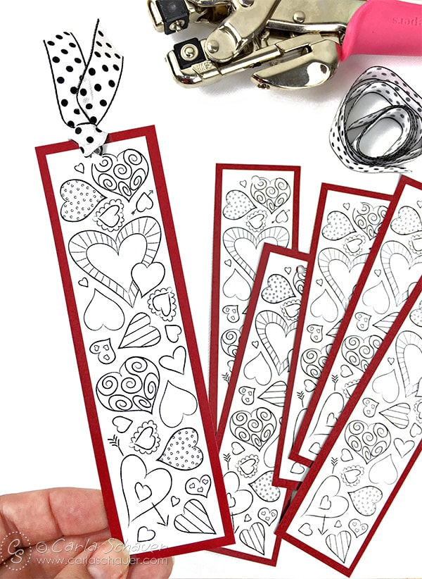 Valentine Heart Bookmarks to Print and Color