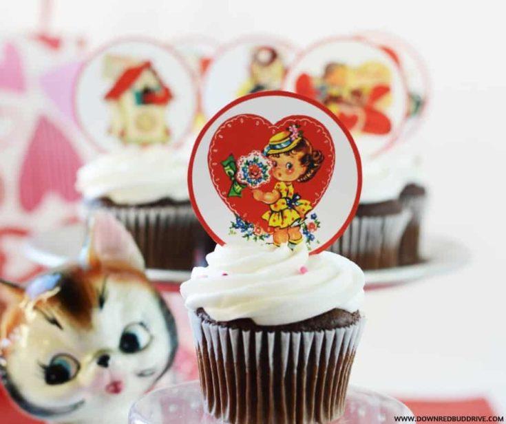 Free Printable Vintage Valentine Cupcake Toppers