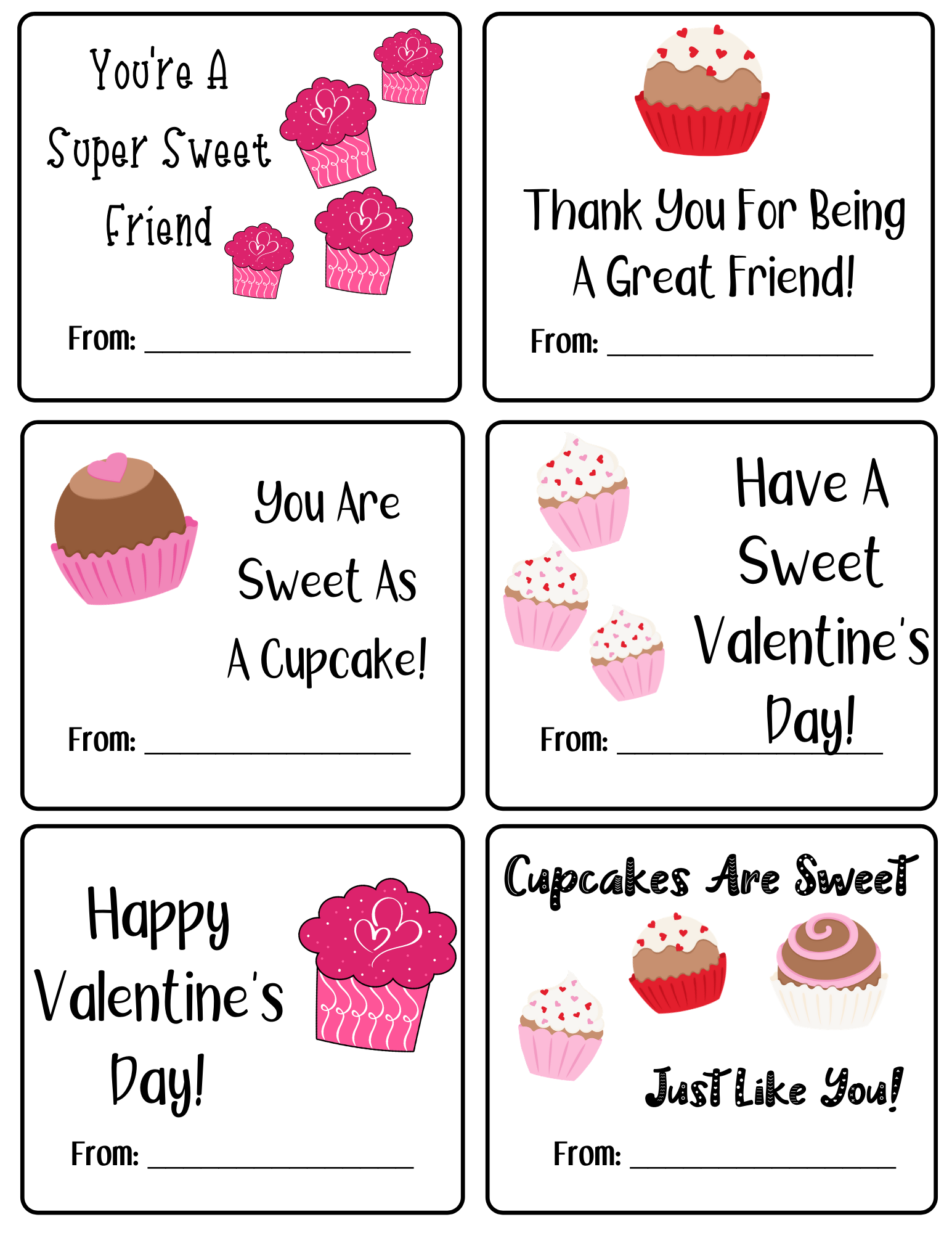 Cute Cupcake Valentine's Day Cards- Print them today! #sweet2020 #valentinesday #printables