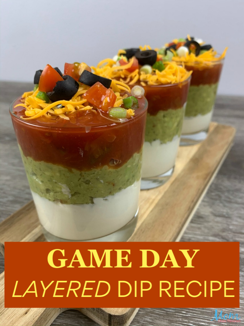 Easy Game Day Layered Dip #Recipe #appetizer #dip
