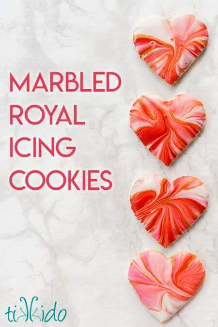 Marbled Royal Icing Cookie Hearts