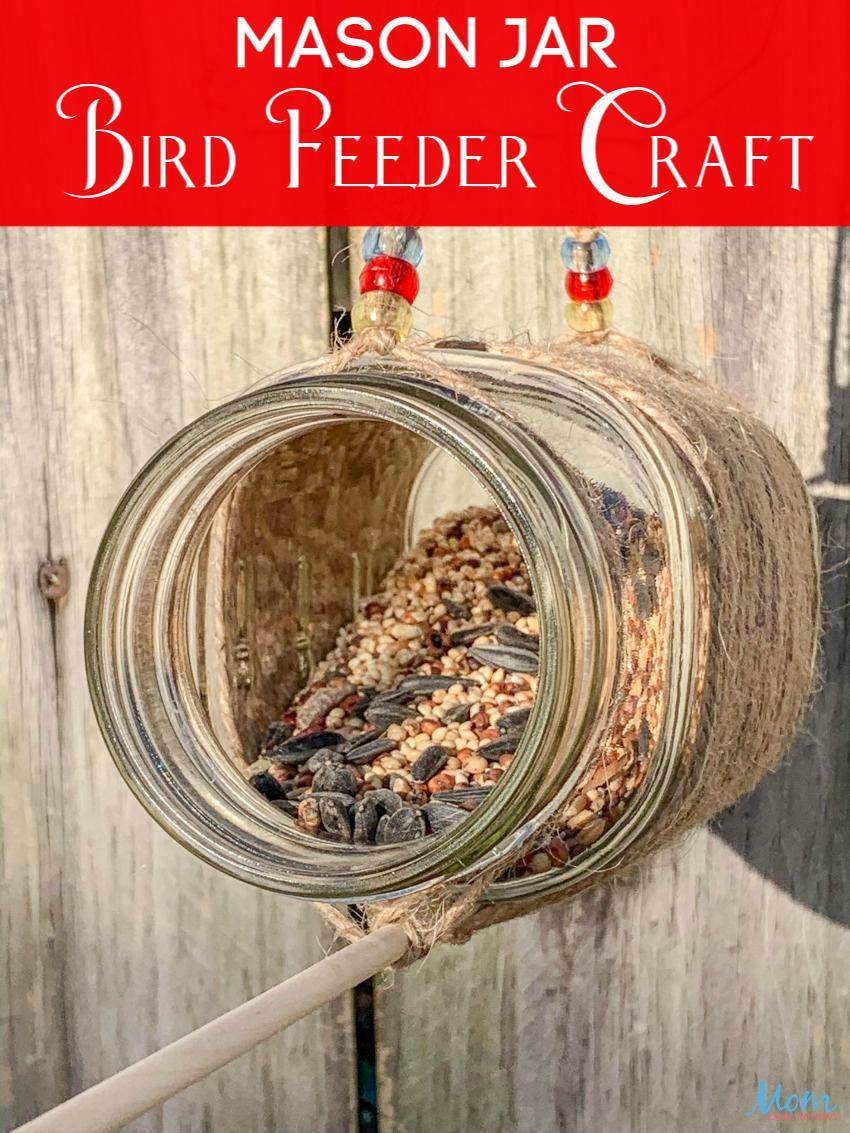 Mason Jar Bird Feeder  #Craft #birdfeeder #masonjarcraft