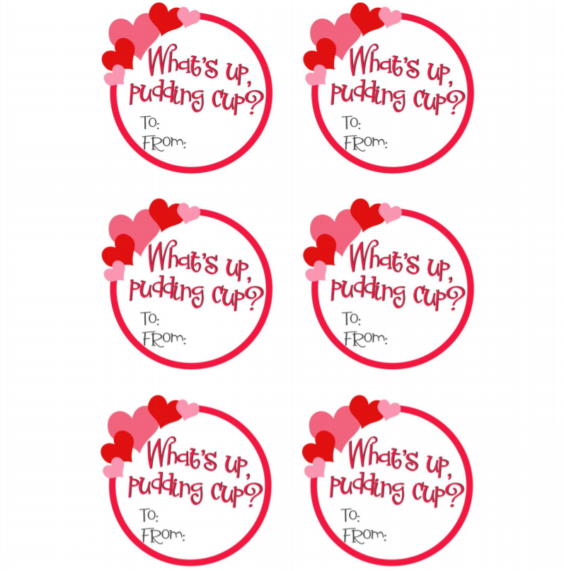 Pudding Cup Valentines printable pdf
