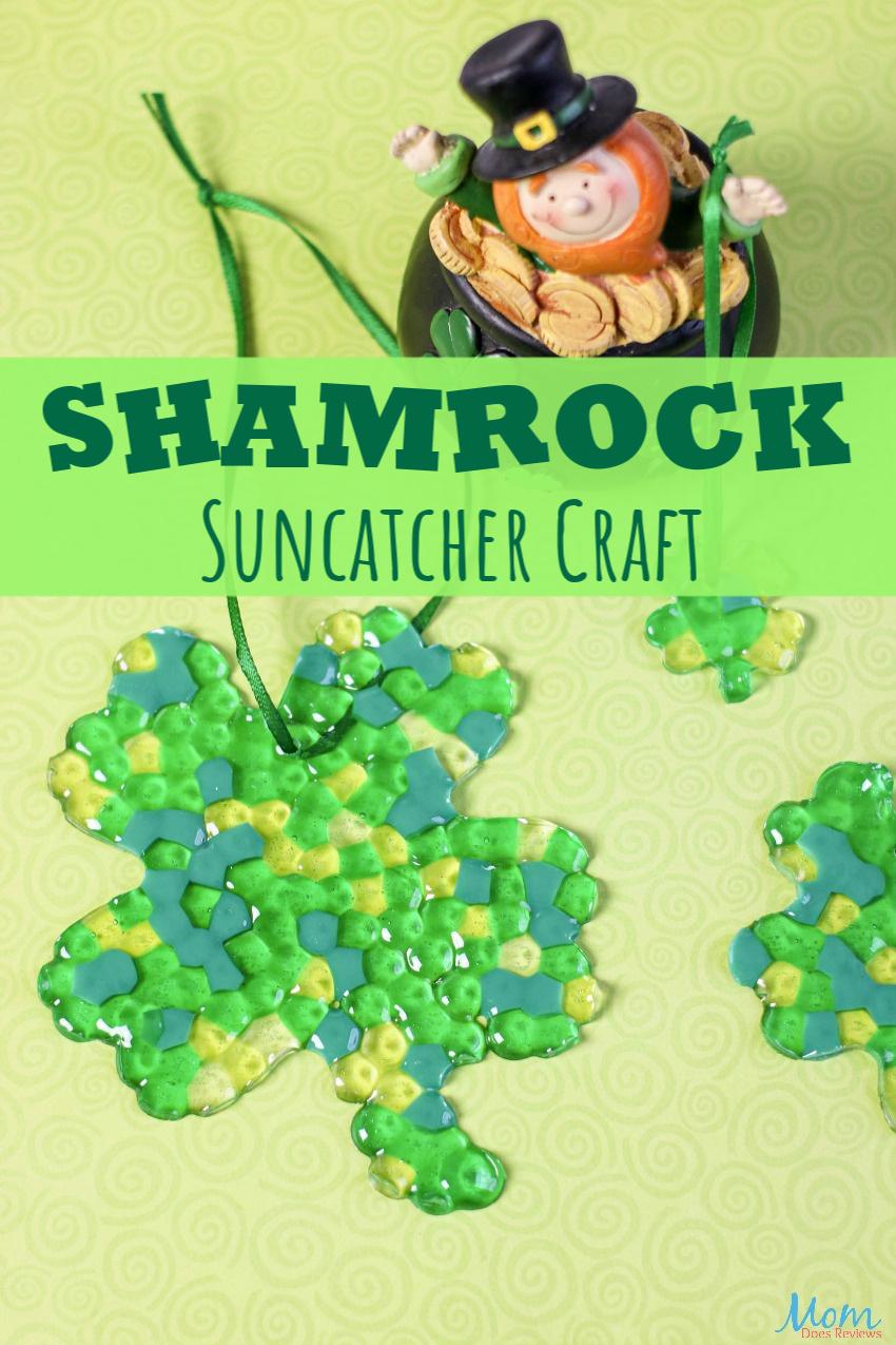 Cute Shamrock Suncatcher Craft for St. Patrick's Day #craft #stpatricksday #funstuff