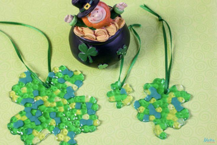 Cute Shamrock Suncatcher Craft for St. Patrick's Day