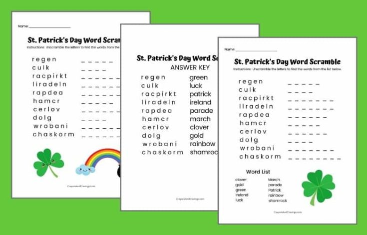 St. Patrick's Day Word Scramble FREE Printbale (2 Versions Available)