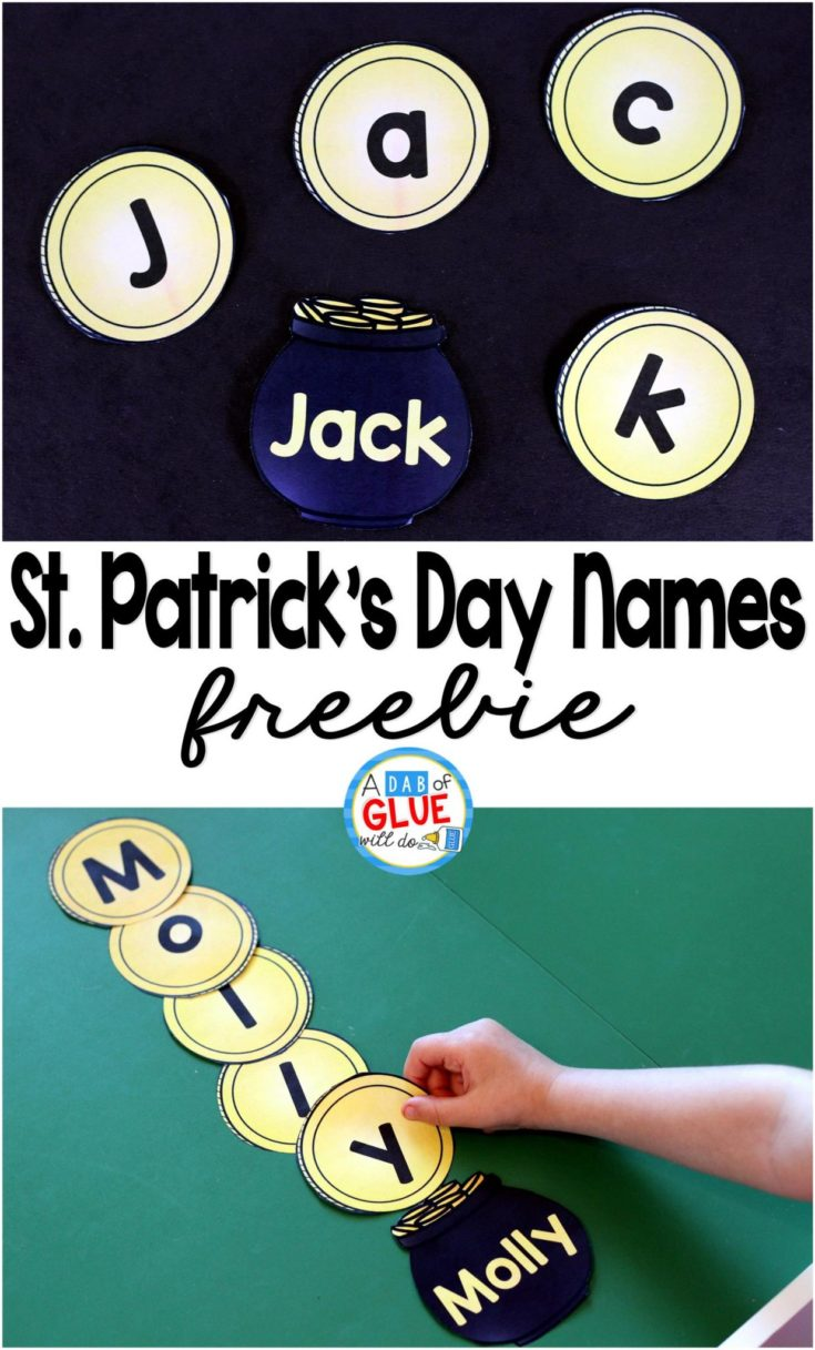 St. Patrick's Day Names - Name Building Practice Printable