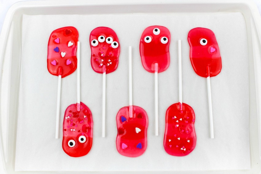 Valentine Monster Lollipops process