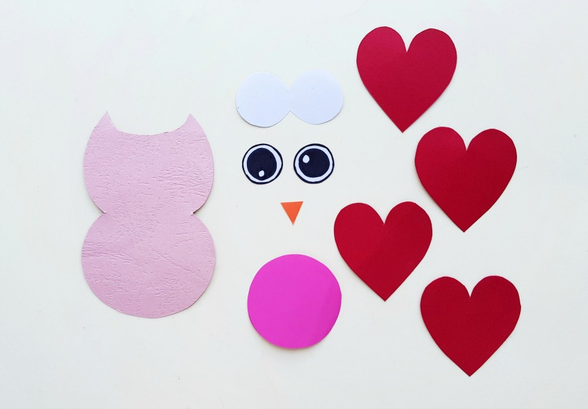 Valentine's Day Owl Craft process