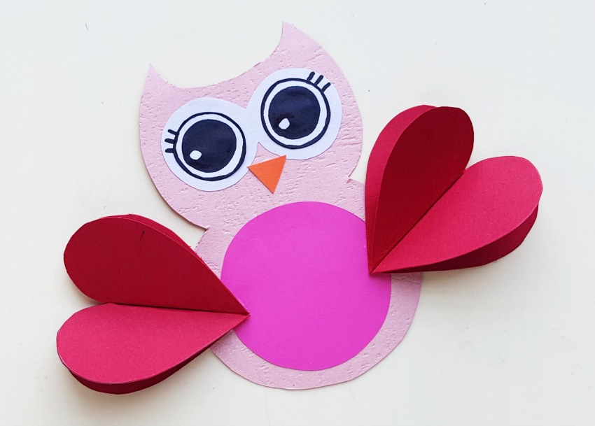 Valentine Owl Craft process