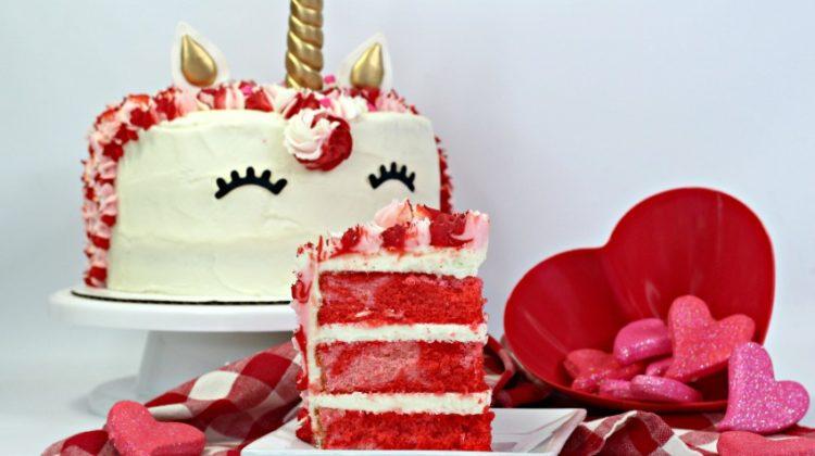 Valentine's Day Unicorn Cake recipe and tutorial