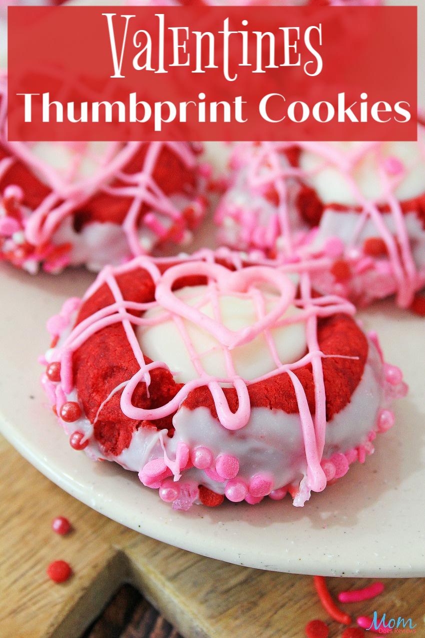 Valentine's Thumbprint Cookies #Recipe #cookies #sweets