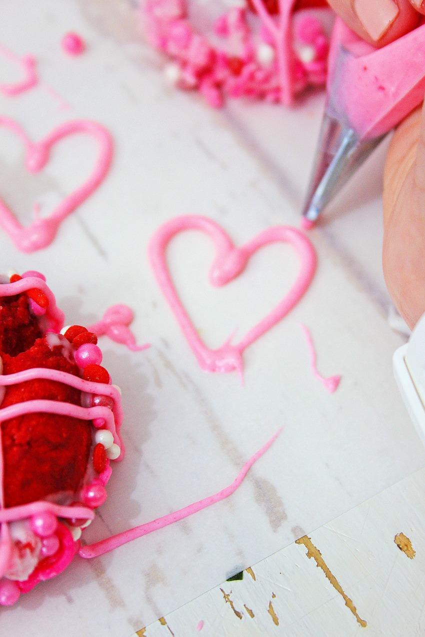 Valentines Thumbprint Cookies process