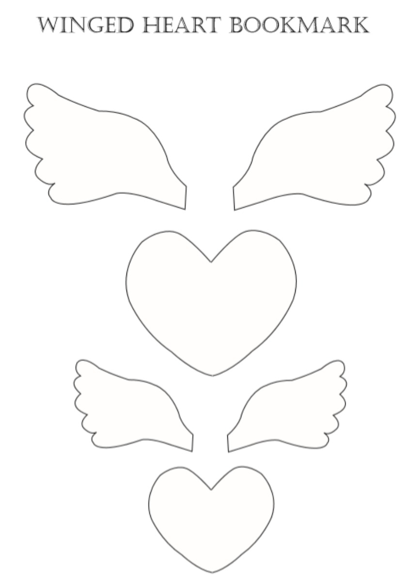 Winged Heart Bookmarks Template