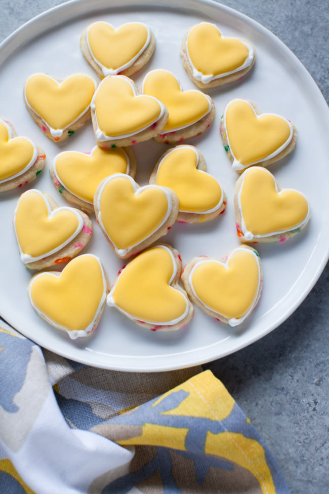 Yellow Heart-Shaped Rainbow Funfetti Cookies
