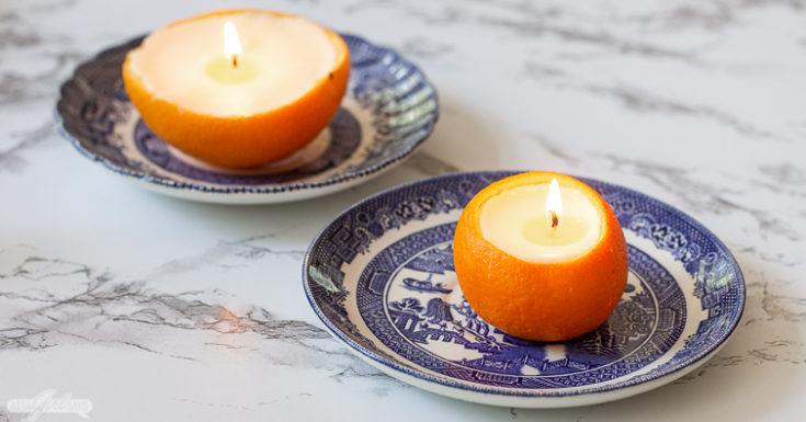 Homemade Orange Peel Candles