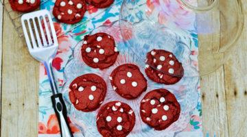 Red Velvet White Chocolate Chip Cake Mix Cookies