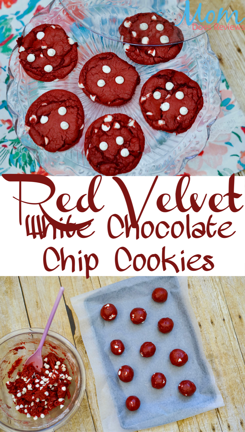Red Velvet White Chocolate Chip Cake Mix Cookies #dessert #sweets #redvelvet