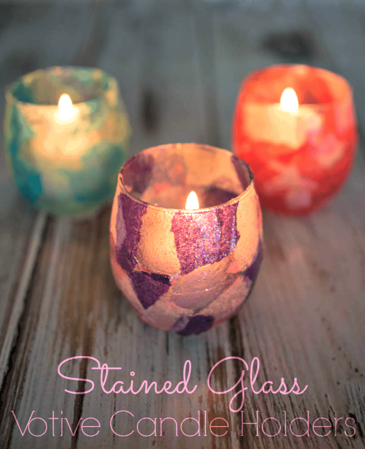 Faux Stained Glass Votive Candle Holders