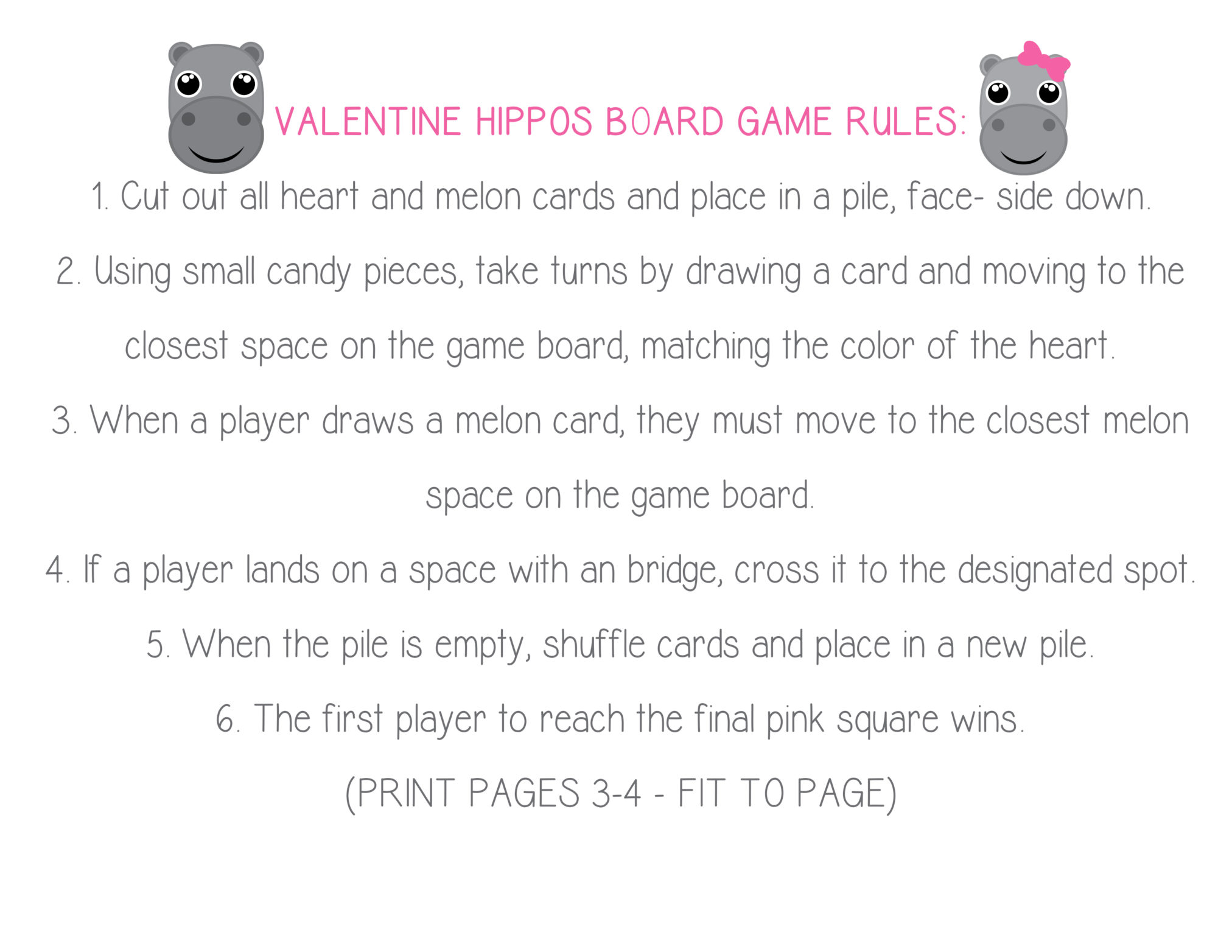 Happy Hippos Board Game- Perfect for Valentine's Day #Printable