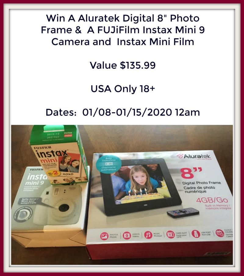 """#Win An Aluratek Digital 8"""" Photo Frame, A FUJiFilm Instax Mini 9 Camera & Instax Mini Film"""