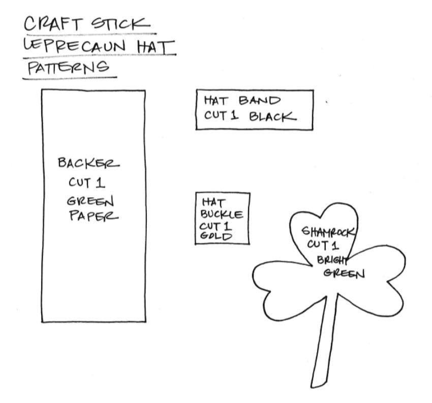 St. Patrick's Day Craft Stick Leprechaun Craft Template