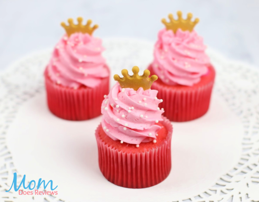 Princess Aurora Raspberry Jello Cupcakes with White Chocolate Raspberry Jello Buttercream Frosting