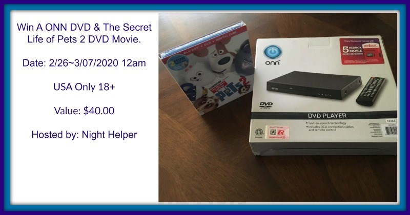 #Win ONN DVD player and Secret Life of Pets 2 DVD! US ends 3/6