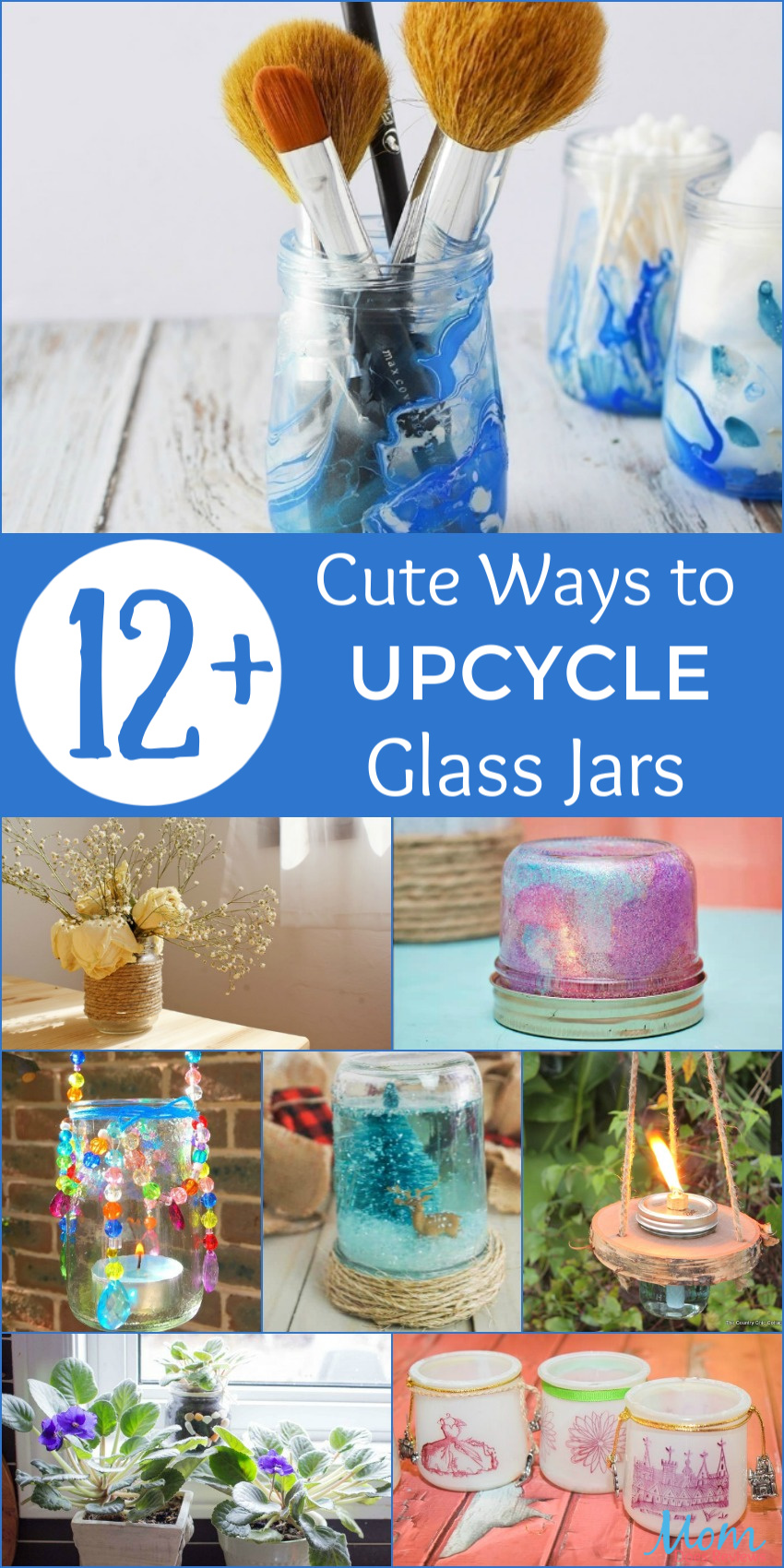 12+ Cute Ways to Upcycle Glass Jars #DIY #earthday #recycle #Crafts